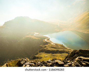 Misty Autumnal Weather over the Mountain Lake Nivolet Pass Grand Paradis National Park Italy