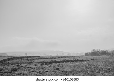 Misty black and white landscape in Lancashire