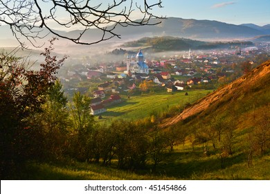 Misty colorful spring landscape in the mountain village, morning in the Carpathian mountains. Ieud, Maramures, Romania, Europe