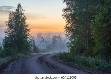 Misty countryside road