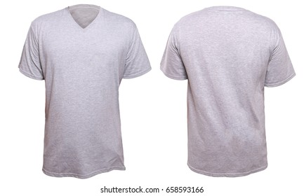afb526a0f17089 ... v-neck shirt, front and back design, isolated on white. Misty Grey t-shirt  mock up, front and back view, isolated. Plain