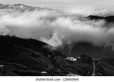 Misty hills at Borneo, Sabah, Malaysia