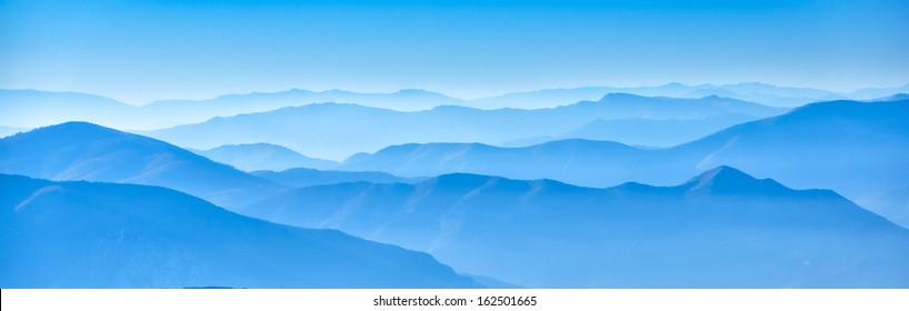 misty horizons blue tones - macedonian mountain