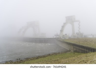 Misty image of the Driel weir in the netherlands