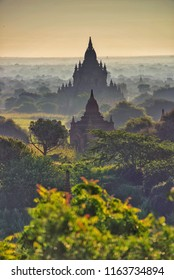 Misty Land of Old Bagan, Myanmar, in the Morning