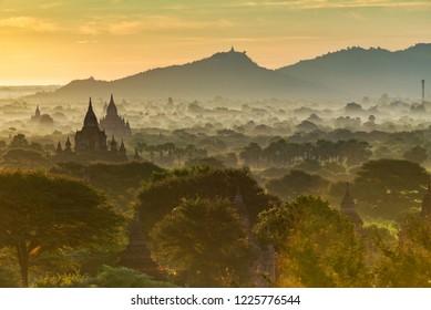 The misty land of Old Bagan, Myanmar