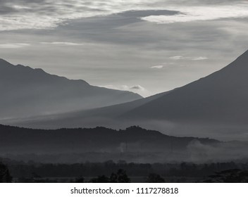 Misty Landscape Between Mount Merapi and Moung Merbabu, Indonesia