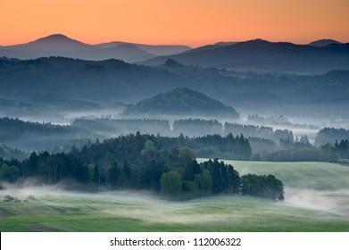 Misty landscape in the morning, Czech Republic