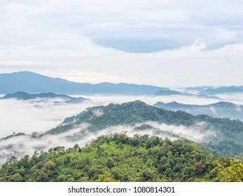 Misty landscape on top mountain