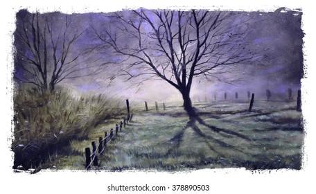 Misty Landscape Tree Purple painting torn edges