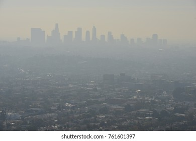 A misty Los Angeles skyline early in the morning