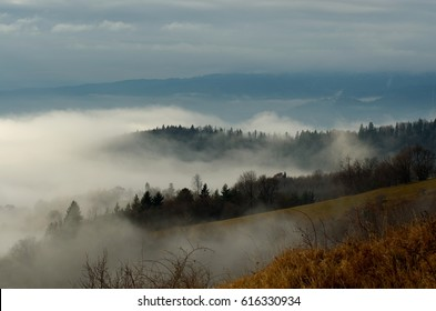 Misty morning above Banska Bystrica, Slovakia