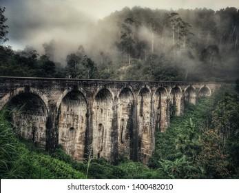 A misty morning created a beautiful scenery at the Nine Arch Bridge in Sri Lanka.