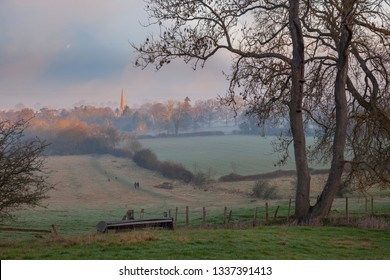 Misty morning at Mickleton, Cotswolds, Chipping Campden, Gloucestershire, England