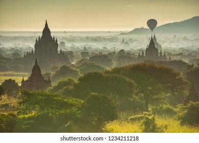 Misty morning of Old Bagan, Myanmar