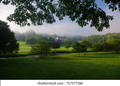 Misty Morning on Colgate university college Campus