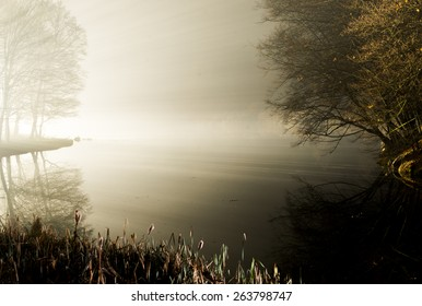 Misty morning on river