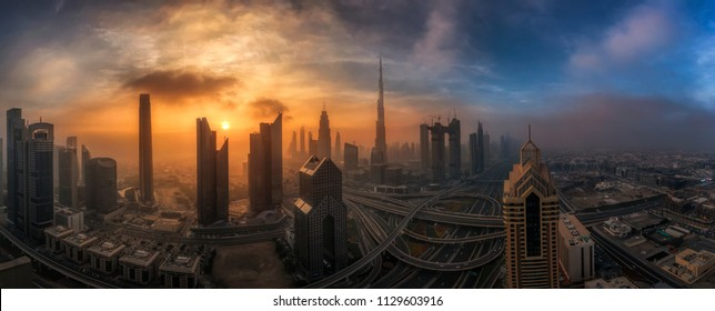 Misty morning over Dubai Downtown