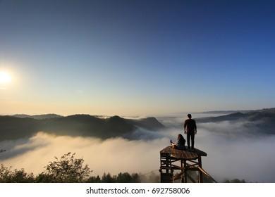 Misty morning at Panguk Hill, Dlingo, Bantul, Yogyakarta, Indonesia