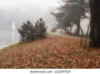 Misty morning in Riga in atumn