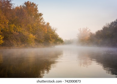 Misty morning at river Saale in Germany