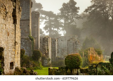 Misty morning at the ruins of Jervaulx Abbey, North Yorkshire, England