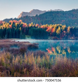 Misty morning scene of Wagenbruchsee (Geroldsee) lake with Hochkarspitze mountain range on background. Great autumn view of Bavarian Alps, Germany, Europe. Beauty of nature concept background.