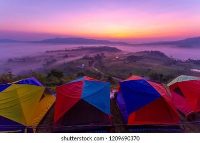 Misty morning sunrise in Khao Takhian Ngo View Point , Nong Mae Na, Khao Kho District, Phetchabun Thailand.