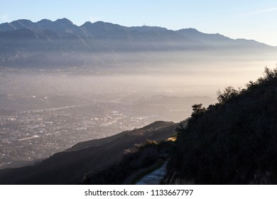 Misty morning Verdugo mountain view of La Canada, Flintridge and La Crescenta near Glendale and Los Angeles, California.