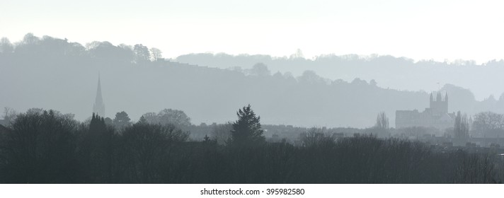 Misty morning view over Bath with Abbey. The UNESCO World Heritage city of Bath, in Somerset, UK