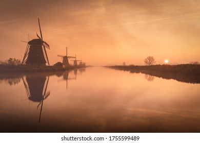 Misty morning at the windmills, Kinderdijk the Netherlands