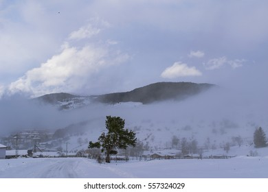 Misty mountain in a foggy winter day