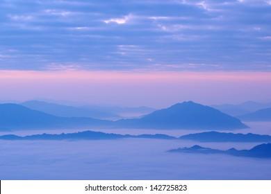 Misty mountain hills
