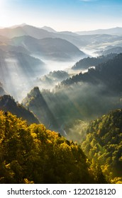 Misty mountain landscape, autumn morning, Poland and Slovakia