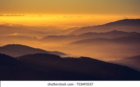 Misty mountain landscape in the morning, Poland