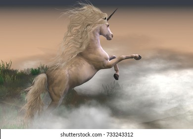 Misty Mountain Unicorn 3d illustration - Misty swirls of clouds surround a unicorn stag as he displays his strength and energy on a mountain slope.