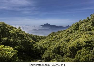 Misty Mountains around Tangkuban Perahu