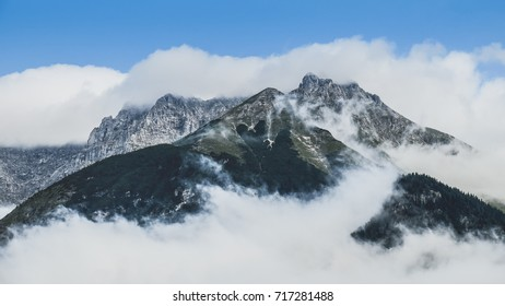 Misty mountains of Innsbruck