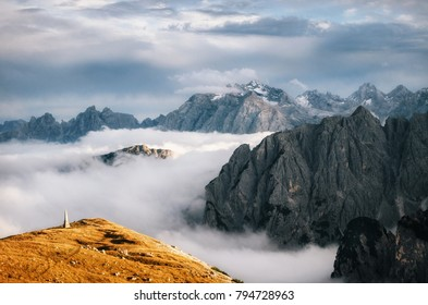 Misty mountains in Italian National Park Tre Cime di Lavaredo in morning. Dolomites, South Tyrol, Italy