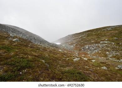 Misty mountains in Lapland, Pallastunturi, Taivaskero