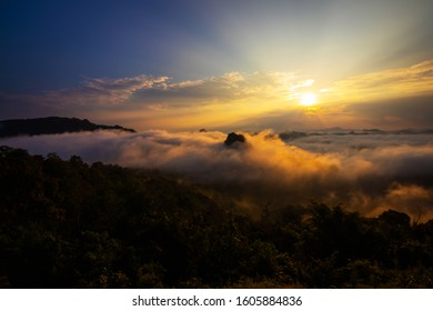 Misty mountains, sunrise landscape in the morning, Viewpoint at mae hong son Thailand