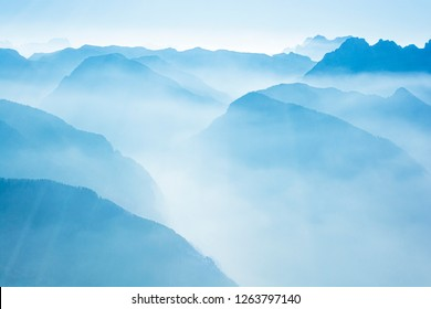 Misty mountains in the Swiss Alps