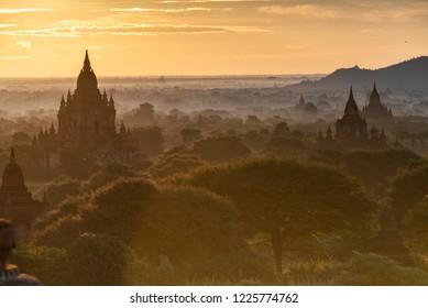 Misty Pagoda jungle of Old Bagan, Myanmar
