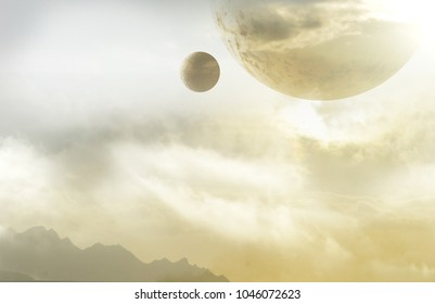 misty planet with two moons