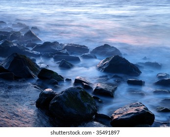 misty rocks at twilight