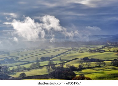 Misty rolling English Countryside near Staveley in the English Lake District