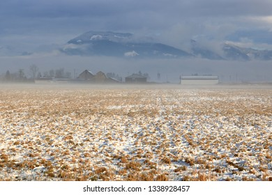 A misty rural morning where a light dusting of snow covers the farm field during the early Spring season.