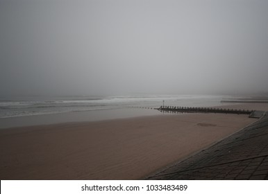 A misty scenic beach view