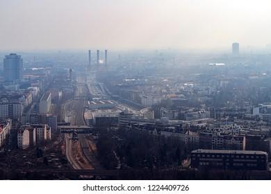 misty skyline of Berlin with freeway