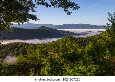 Misty Smoky Mountain Sunrise. Mist in the valley of the Great Smoky Mountains National Park as seen from the recently opened portion of the Foothills Parkway in Wears Valley, Tennessee.